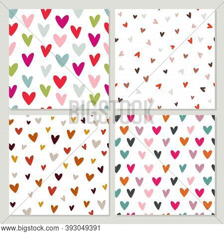 Set Of Seamless Patterns With Hearts. Vector Illustration