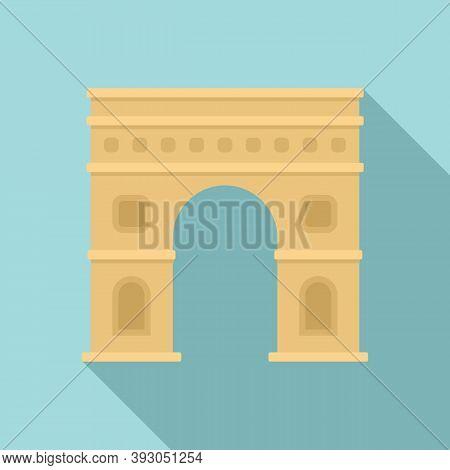 Paris Triumphal Arch Icon. Flat Illustration Of Paris Triumphal Arch Vector Icon For Web Design