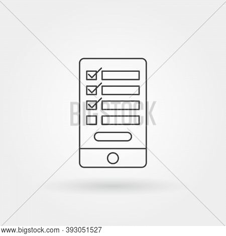 Todo List Smartphone App Single Isolated Icon With Modern Line Or Outline Style