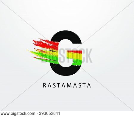 G Letter Logo With Splatter And Rasta Color. Letter G Reggae