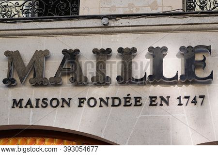 Bordeaux , Aquitaine / France - 11 01 2020 : Maille Logo Text And Sign Of Shop Mustard Freshly Serve