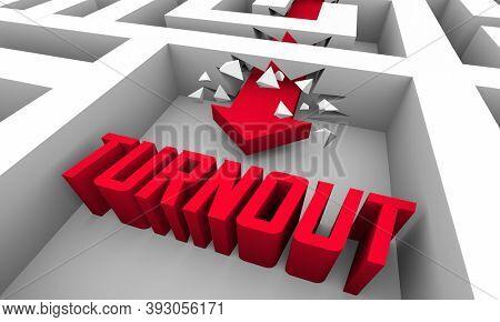 Turnout Response Attendance Participation Maze Arrow Word 3d Illustration