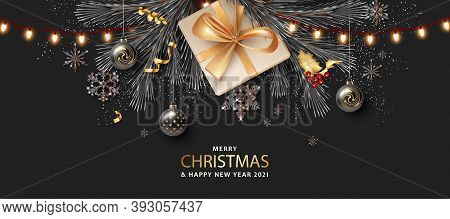 Merry Christmas And Happy New Year Realistic Banner With Gift Box And Christmas Lights