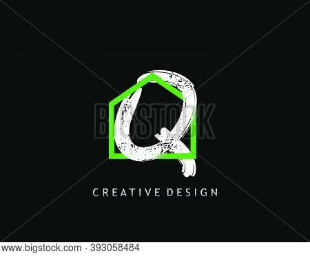 Q Letter Logo. Green House Shape Interlock With Grungy Letter Q Design, Real Estate Architecture Con