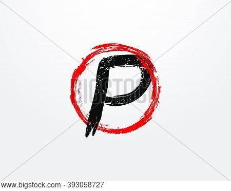 P Letter Logo With Red Circle Grunge Splatter Element. Retro P Logo Design Template.
