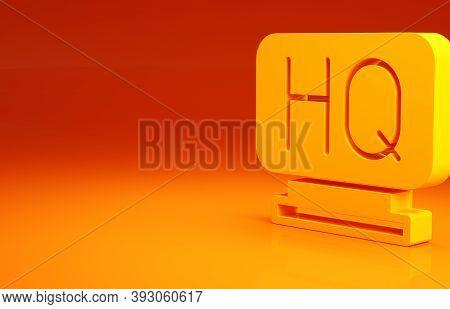 Yellow Military Headquarters Icon Isolated On Orange Background. Minimalism Concept. 3d Illustration