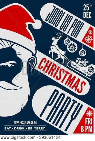 Christmas Party Poster, Flyer Or Invitation Design With Hipster Santa Claus. Vector Illustration