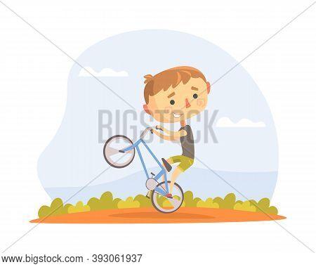 Teen Kid Performing Wheelie Stunt On Bmx Bike Vector Illustration