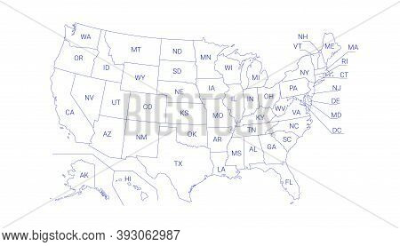 Outline Political Us Map With Titles Of The States. All Usa Regions Are Separated And Named In A Lay
