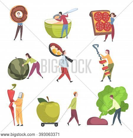 Little People Characters Holding And Carrying Foodstuff Like Doughnut And Sandwich Vector Illustrati