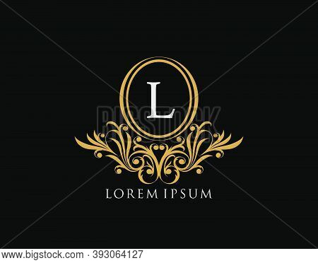 Luxury L Letter Logo. Luxury Calligraphic Vintage Emblem With Beautiful Classy Floral Ornament. Eleg