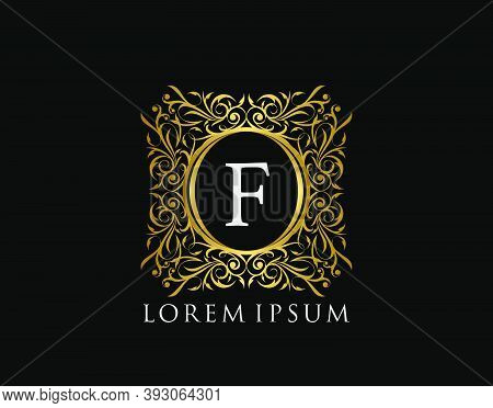 Luxury Badge Letter F Logo. Luxury Gold Calligraphic Vintage Emblem With Beautiful Classy Floral Orn