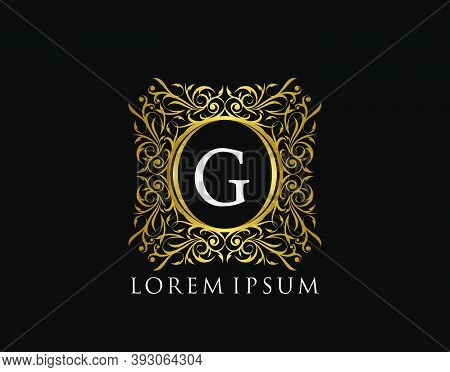 Luxury Badge Letter G Logo. Luxury Gold Calligraphic Vintage Emblem With Beautiful Classy Floral Orn