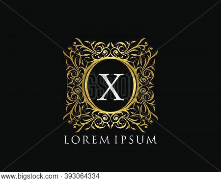 Luxury Badge Letter X Logo. Luxury Gold Calligraphic Vintage Emblem With Beautiful Classy Floral Orn