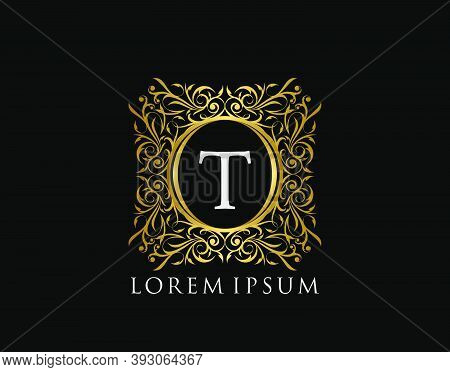 Luxury Badge Letter T Logo. Luxury Gold Calligraphic Vintage Emblem With Beautiful Classy Floral Orn