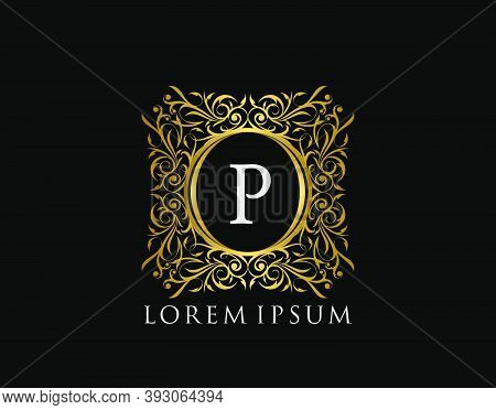 Luxury Badge Letter P Logo. Luxury Gold Calligraphic Vintage Emblem With Beautiful Classy Floral Orn