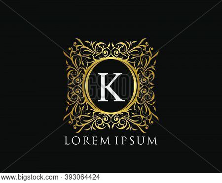 Luxury Badge Letter K Logo. Luxury Gold Calligraphic Vintage Emblem With Beautiful Classy Floral Orn
