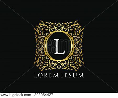 Luxury Badge Letter L Logo. Luxury Gold Calligraphic Vintage Emblem With Beautiful Classy Floral Orn
