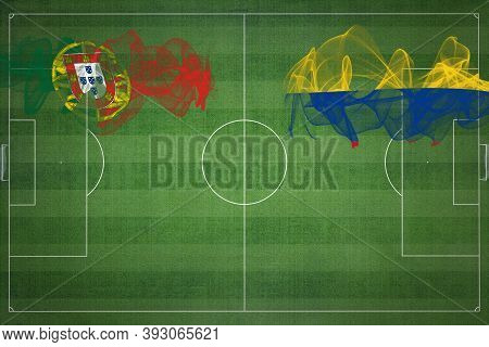 Portugal Vs Colombia Soccer Match, National Colors, National Flags, Soccer Field, Football Game, Com