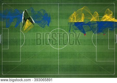 Saint Lucia Vs Colombia Soccer Match, National Colors, National Flags, Soccer Field, Football Game,