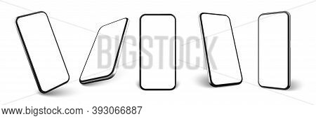 Realistic Smartphone Set. Collection Of Realism Style Drawn Cellphone Frame With Blank Display Templ