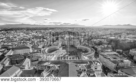 View Of St. Peter Square And Rome Skyline