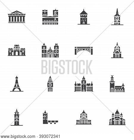 Tourism Cities Landmarks Vector Icons Set, Modern Solid Symbol Collection, Filled Style Pictogram Pa