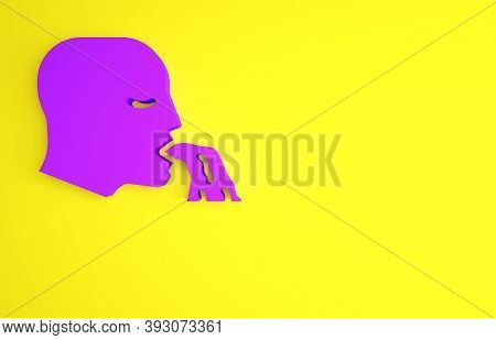 Purple Vomiting Man Icon Isolated On Yellow Background. Symptom Of Disease, Problem With Health. Nau