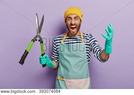 Outraged Negative Man Holds Pruning Shears Or Secateurs, Screams With Anger, Works In Garden, Annoye