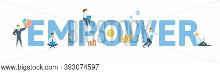 Empower. Concept With Keyword, People And Icons. Flat Vector Illustration. Isolated On White.