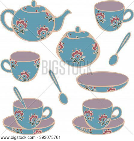 Vector Set Of Crockery For Tea-drinking - Cups, Mugs, Teapot And Sugar Bowl. Concept For Tea Store O