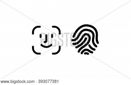 Face Id, Touch Id. Scanners Icons Set, Vector. Dentification Icon. Facial Recognition Scan. Face Sec