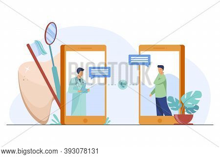 Dental Doctor Consulting Patient Online. Smartphone, Health, Physician Flat Vector Illustration. Sto