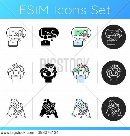 Teenager Work Experience Icons Set. Online Tutor. Camp Counselor. Dishwasher. Summer Job. E-learning