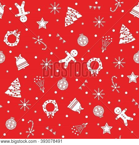 Christmas Seamless Vector Pattern, With White Christmas And New Year Motifs On A Red Background. Chr