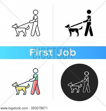 Dog Walker Icon. Taking Pets Out For Daily Exercise. Dog-walking. Animal Industry. Dog Owner. Profes