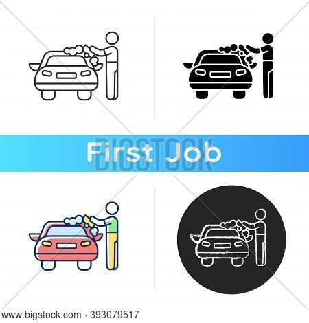 Car Washer Icon. Washing And Polishing Car Interiors And Exterior. Applying Soap Solution. Scraping