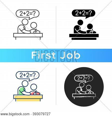 Tutor Icon. Private Teacher. Homework Help. Students Teaching. Instructing Kids. Test Prep. Developi