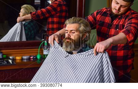 Hair And Beard Care. Man In Hair Salon With Hipster Haircut. Beard And Mustaches. Professional Hairs
