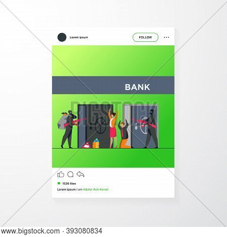 Gangsters With Gun Robbing Bank. Criminals Aiming Riffle At Workers, Taking Bags With Money. Vector