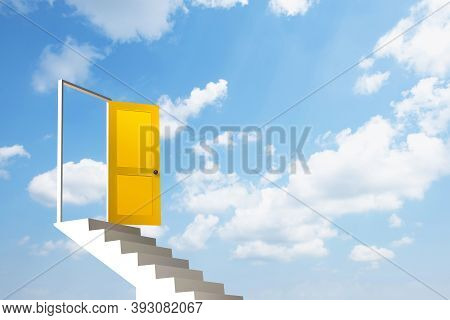 White Stair With Yellow Door In The Blue Sky.3d Illustration.