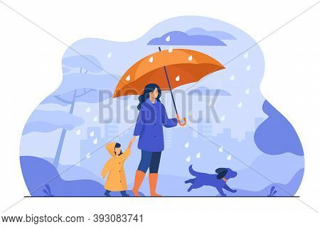 Woman With Umbrella, Girl In Raincoat And Dog Walking In Rain In City Park. Vector Illustration For