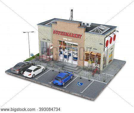 Supermarket Building On A Piece Of Ground, 3d Illustration