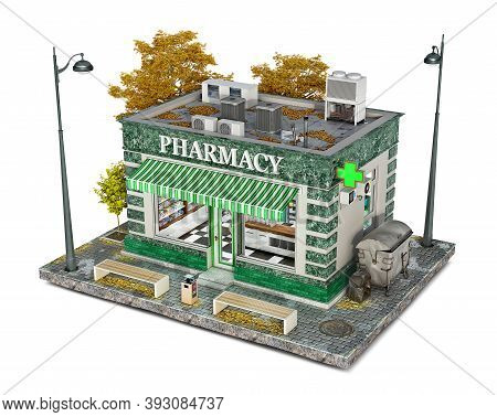 Pharmacy Building On A Piece Of Ground, 3d Illustration