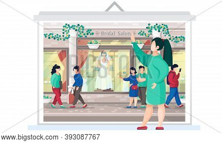 Wedding Dress Shop, Woman Bride Daily Life. Couple Walking Down The Street Near Bridal Salon Storefr