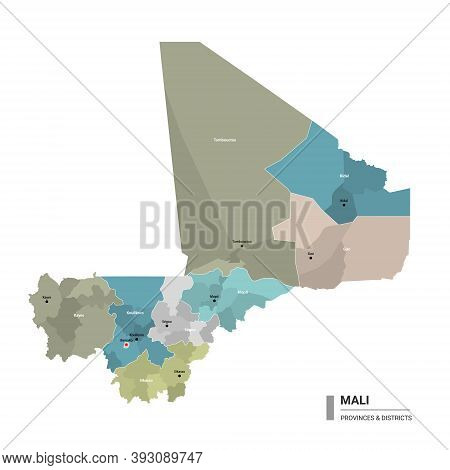 Mali Higt Detailed Map With Subdivisions. Administrative Map Of  Mali With Districts And Cities Name