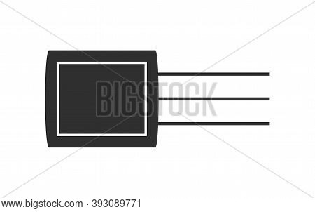 Electronic Transistors Vector Icon In White Background. Transistor Symbol Illustration Isolated