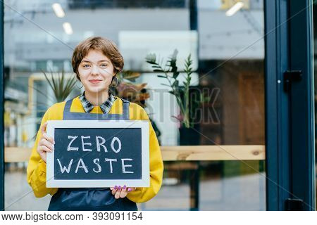 Eco Living, Environment And Sustainability Concept. Portrait Of Peaceful French Woman Employee In Ye