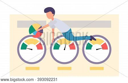 A Man Submits A Progress Report. Character Creeps Along The Diagram Pointing On Color Segment, Prese