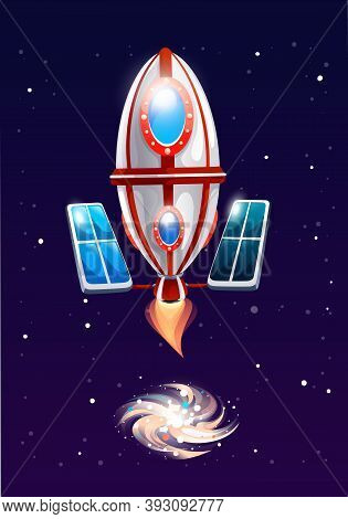 Oval Rocket With Solar Battery Flies Into Space And Blows Energy. The Circulation Of Matter At The B